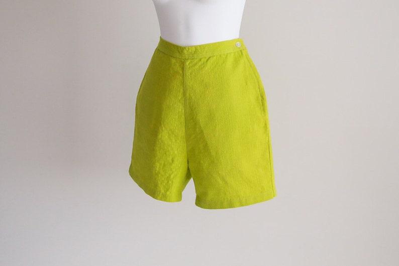 Chartreuse Cotton Shorts w Side Zip Sz xS