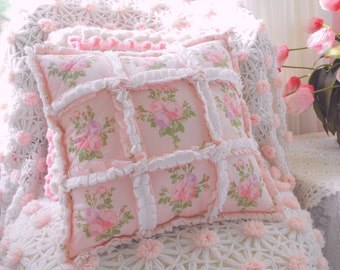 Pink Shabby Cottage Roses Sheet Fabric And Chenille Rag Style Pillow