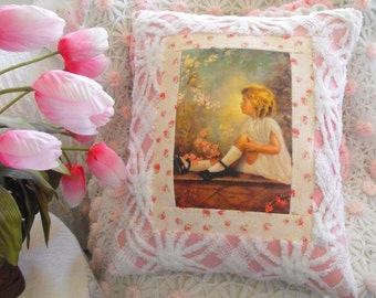 VINTAGE BIRD SONG Print With Pink Vintage Chenille Patchwork Pillow