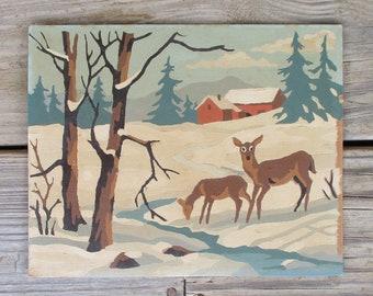"Vintage Paint by Number Painting ""Winter Scene"" Craft Master Mid Century 1954 PBN Deer Snow Barn"