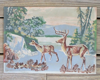 """Paint by Number Painting """"Animal Wildlife"""" Modified Vintage Art Award PBN Framed Deer River Mountain Forest Stream Waterfall"""