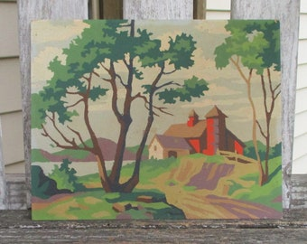 """Vintage Paint by Number Painting """"Country Scene"""" Craft Master Mid Century 1954 PBN Red Barn Trees"""