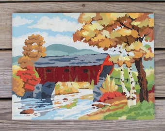 """Vintage Paint by Number Painting """"Covered Bridge"""" Craft Master 1958 PBN Unframed Fall Landscape Country"""