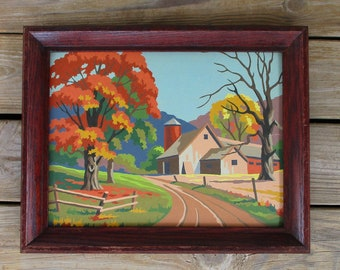 """Vintage Paint by Number Painting """"New England Autumn"""" 12Y4 Craftint Mid Century Framed PBN Barn Farm Fall Landscape"""