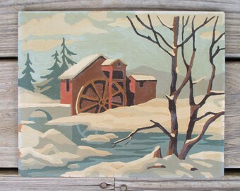 """Vintage Paint by Number Painting """"Winter Scene"""" Craft Master 1954 Mid Century PBN Mill Snow"""