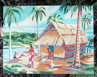 """Vintage Paint by Number Tropical Island Craftint Mid Century 1956 Atomic PBN Unframed Painting 1950s """"South Seas"""" Hawaii Palm Trees"""