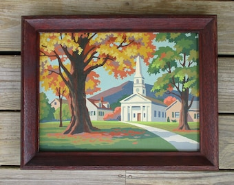 """Vintage Paint by Number Painting """"New England Autumn"""" 12Y3 Craftint Mid Century Framed PBN Church Fall Landscape"""