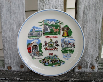 Pennsylvania State Plate Vintage Souvenir The Keystone State Colorful Collectible Decorative Plates