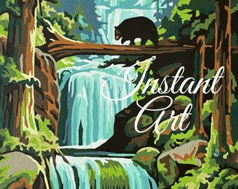 """Printable Vintage Paint By Number """"Woodland Beauty"""" 30HH Instant Art Download Finished Print Your Own Bear Woods Waterfall Outdoors"""
