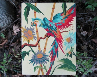 Vintage Paint by Number Tropical Blue Parrot Craftint Mid Century 1956 Atomic PBN Unframed Painting 1950s