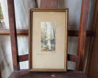 Charles Higgins Hand Colored Pencil Signed Photograph Early 1900's Antique Photo Where Violets Grow