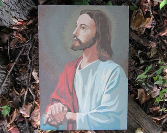 Vintage Paint by Number Jesus Religious Painting with Unfinished Mary on Back 1963 Mid Century Craft Master PBN Unframed 1960's