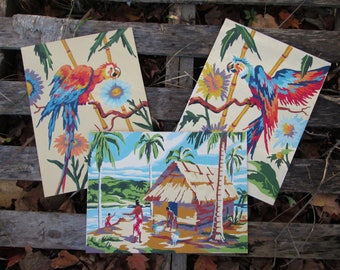 Vintage Paint by Number Tropical Complete Set of 3 Craftint Mid Century 1956 Atomic PBN Unframed Paintings 1950s