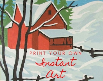 Printable Vintage Paint By Number Winter Season Instant Download Finished Print Your Own Instant Wall Art Red Barn Snow