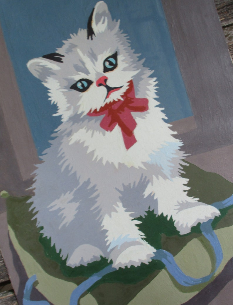 Vintage Paint by Number Painting Kittens At Play 22T Pann Products 1953 Canvas PBN Unframed Blue Ribbon Red Bow