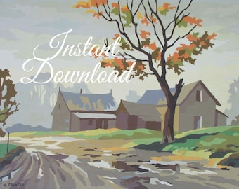 """Instant Download Vintage Paint By Number Completed """"After the Rain"""" 1TTT2 Print Your Own Finished Painting Fall Country Farmhouse"""