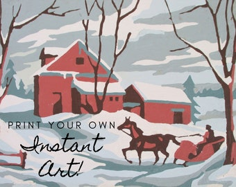 """Printable Vintage Paint By Number Completed """"Winter Snow"""" 7D Instant Download Finished Print Your Own Instant Wall Art Winter Horse Sleigh"""