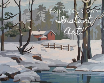 """Printable Vintage Paint By Number """"Winter Scenes"""" 29EE2 Instant Download Completed Print Your Own Instant Wall Art Red Barn Snow"""