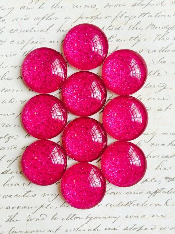 Poussez les broches / aimants - décoratif - verre poussoir épingles - paillettes poussoir punaises - aimants - Push Pins - rose - Magenta