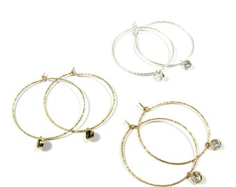 Sparkle Hoop Earrings with Dangling CZ Stones,  Dangling CZ Hoop Earrings, Skinny Hoop Earrings 14kt Gold Filled, Sterling Silver