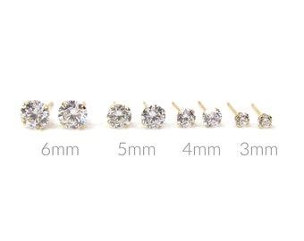 14k Solid Gold Bezel CZ Stud Earrings \u2022 14K CZ Round Studs \u2022 Bezel Set CZ Stud Earrings in Real Gold \u2022 Sold Singles or Pair