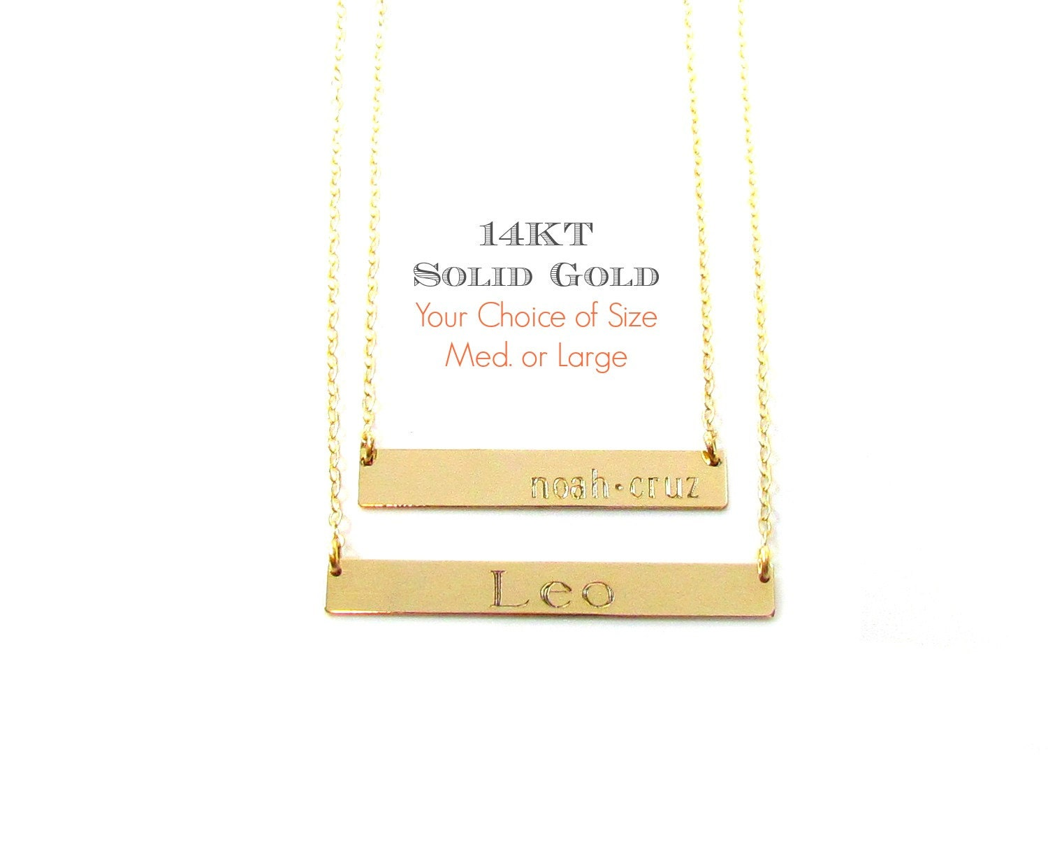 14kt Solid Gold Bar Necklace Engraved Bar Necklace Etsy