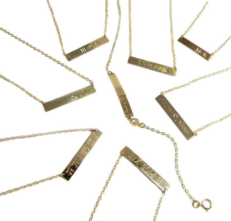 8044dd8667aca PERSONALIZED BAR Nameplate Necklace, Medium Engraved Bar Necklace, 14kt  gold filled or Sterling Silver