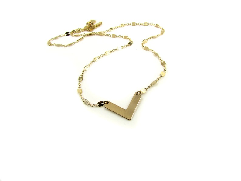 Set of 2 Necklaces 14K Gold Filled or Sterling Silver Chevron Double Strand Necklace with Gold Hammered Disc Necklace Set