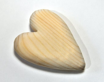 Wood Heart Craft Supply Wood Carving Summer Craft Wood Sculpture Unfinished Wood Painting Supply Adult Craft, Woodworking