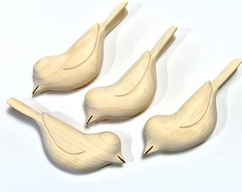Unfinished Ornaments Wood Bird Carvings Wooden Bird Sculpture, Adult Craft Supplies Woodworking Summer Craft Painting Supply