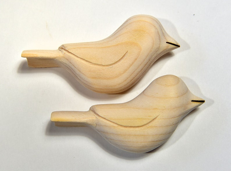 Unfinished Wood Bird Sculpture Small Wooden Birds Ornament Etsy