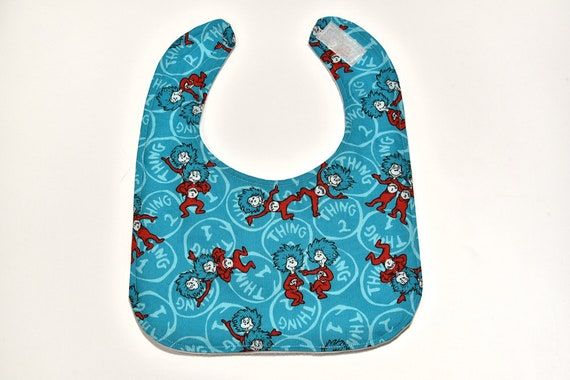 Seuss Thing 1 /& Thing 2  turquoise Rag quilt Pacifier holder Dr