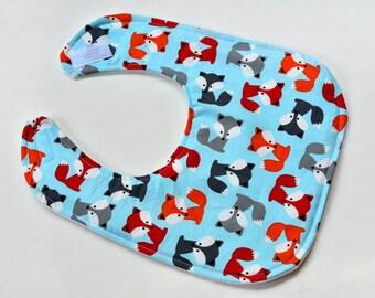 Baby Boy Bib Handmade Drool Bib Foxes, Baby Items, Baby Shower Gift Soft Cotton Baby Bib, Baby Gift, Infant Bibs Under 10, Made From Fabric