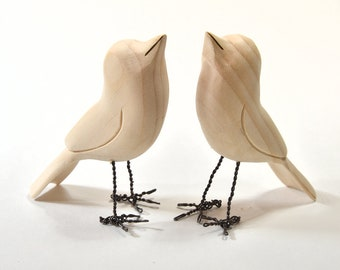 Wood Carvings Wood Sculpture Unfinished Birds Wooden Bird Summer Decor Craft Supplies Cabin Decor Adult Craft Painting Supply