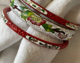 Stack of 6  Cinnabar Bangles Green Yellow Brown Red and Black