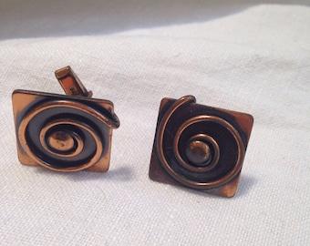 Vintage Copper Swirl Cuff Links Square