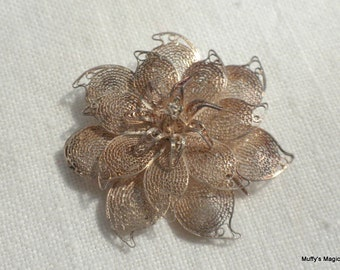 Sterling Silver 950 Flower Brooch Wire Work Filigree