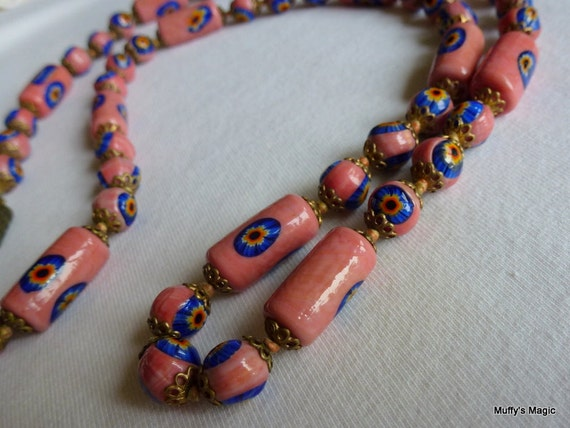 Italian Pink & Royal Blue Millefiore Bead Necklace