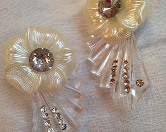 Lucite Rhinestone Studded Earrings White Plastic Flowers