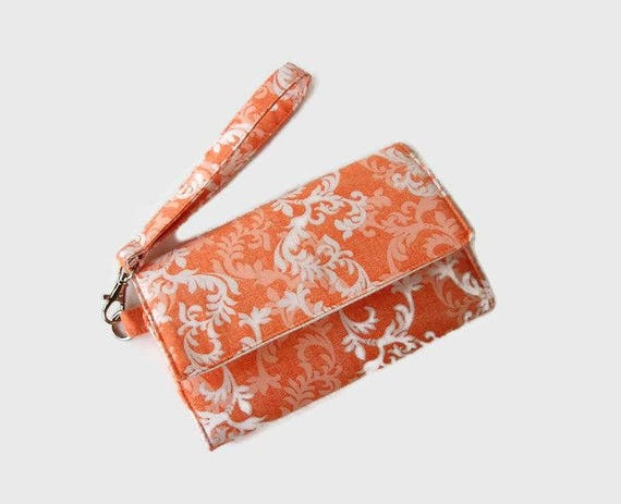 8c6f4fd643a3 Cell Phone Wristlet Wallet - Cushioned Trifold Wristlet Wallet - Orange  Salmon Smartphone Wristlet - Phone Pouch - Phone Clutch