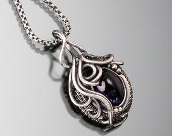Amethyst Jewelry -  Fine Silver and Sterling Silver Pendant -  Ocean's Breath