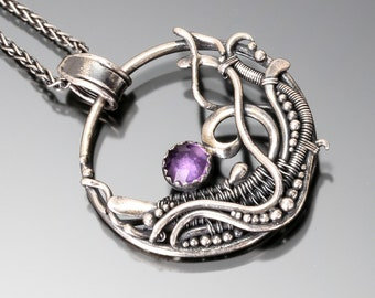 Amethyst, Fine Silver and Sterling Silver Pendant- Tempest
