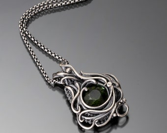 Green Tourmaline, Fine Silver and Sterling Silver Pendant- Melody