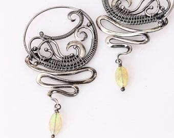 Earring Earrings - Fine Silver and Sterling Silver Hoops - Tornado Earrings - Scribbles