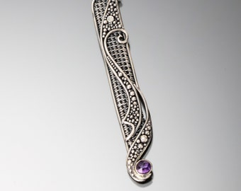 Amethyst, Fine Silver and Sterling Silver Pendant- Serenity