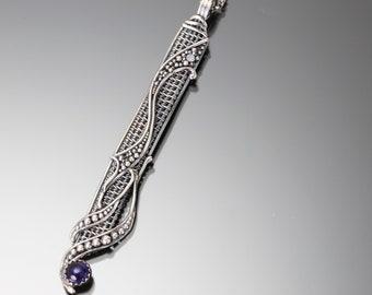 Iolite, Fine Silver and Sterling Silver Pendant- Serenity