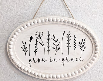 Grow in Grace. Oval Farmhouse Inspired Sign with Wood Bead Frame. Farmhouse White Door Hanger
