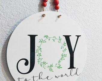 Joy to the World. Christmas Farmhouse Inspired Sign.  White Modern Round Wooden Farmhouse Front Door Hanger.