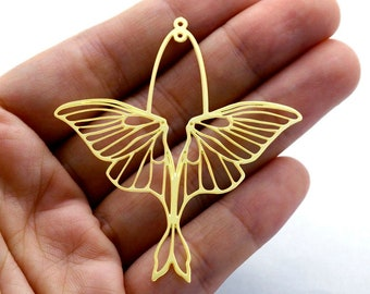 Raw Brass Charm, Wing Pendant,Brass Findings,Necklace Pendant, Earrings Charm,Jewelry Supply, Wing Brass Charm(RD1322)