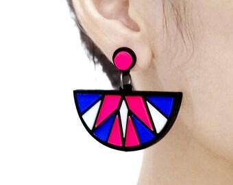 Last- 50% off-4pcs (2 Pairs) Laser Cut Acrylic Bohemia Geometry Earring Jewelry (AGE04) Geometry Series